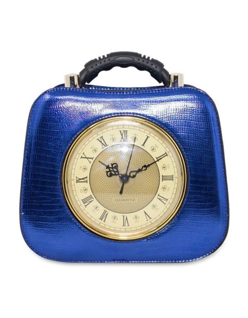 Magic Bags Fantasy tassen en portemonnees - Retro Klok-handtas met echt werkende klok metallic blauw