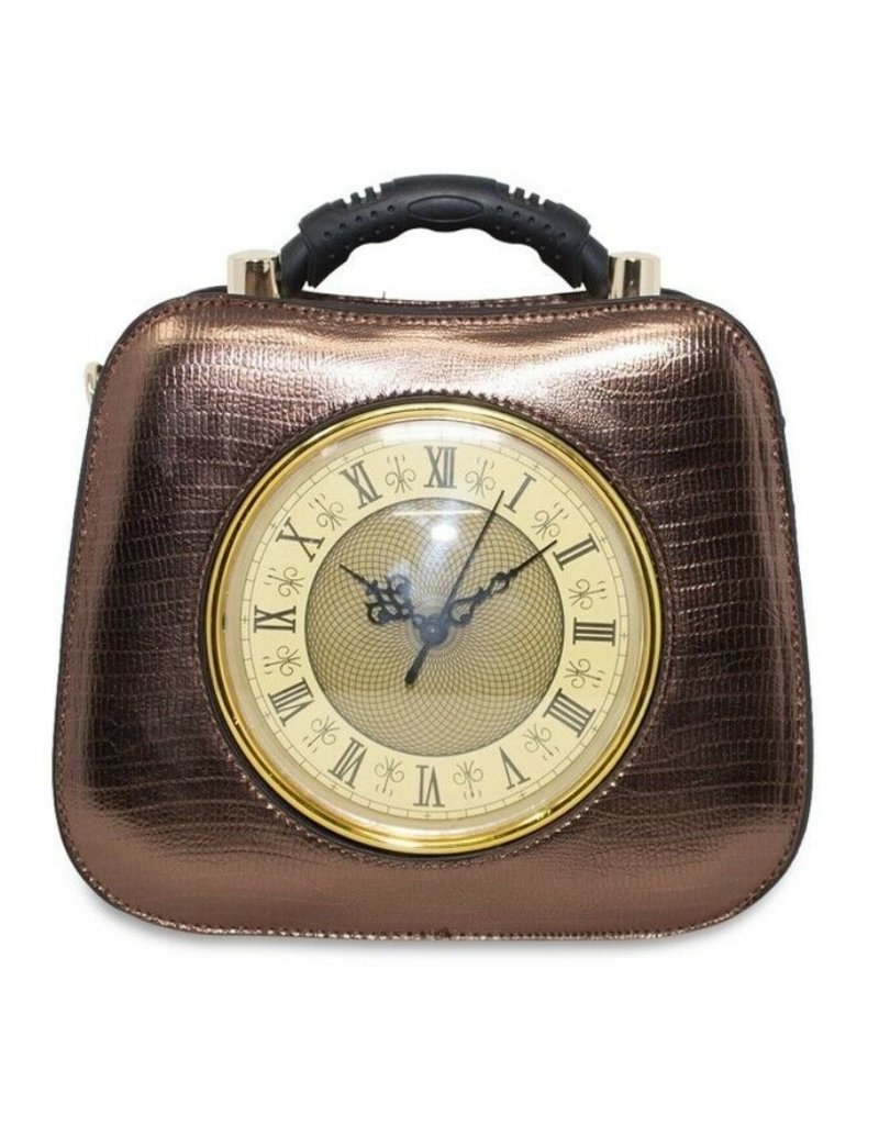 Magic Bags Fantasy bags and wallets - Retro Clock handbag with real working clock metallic blue