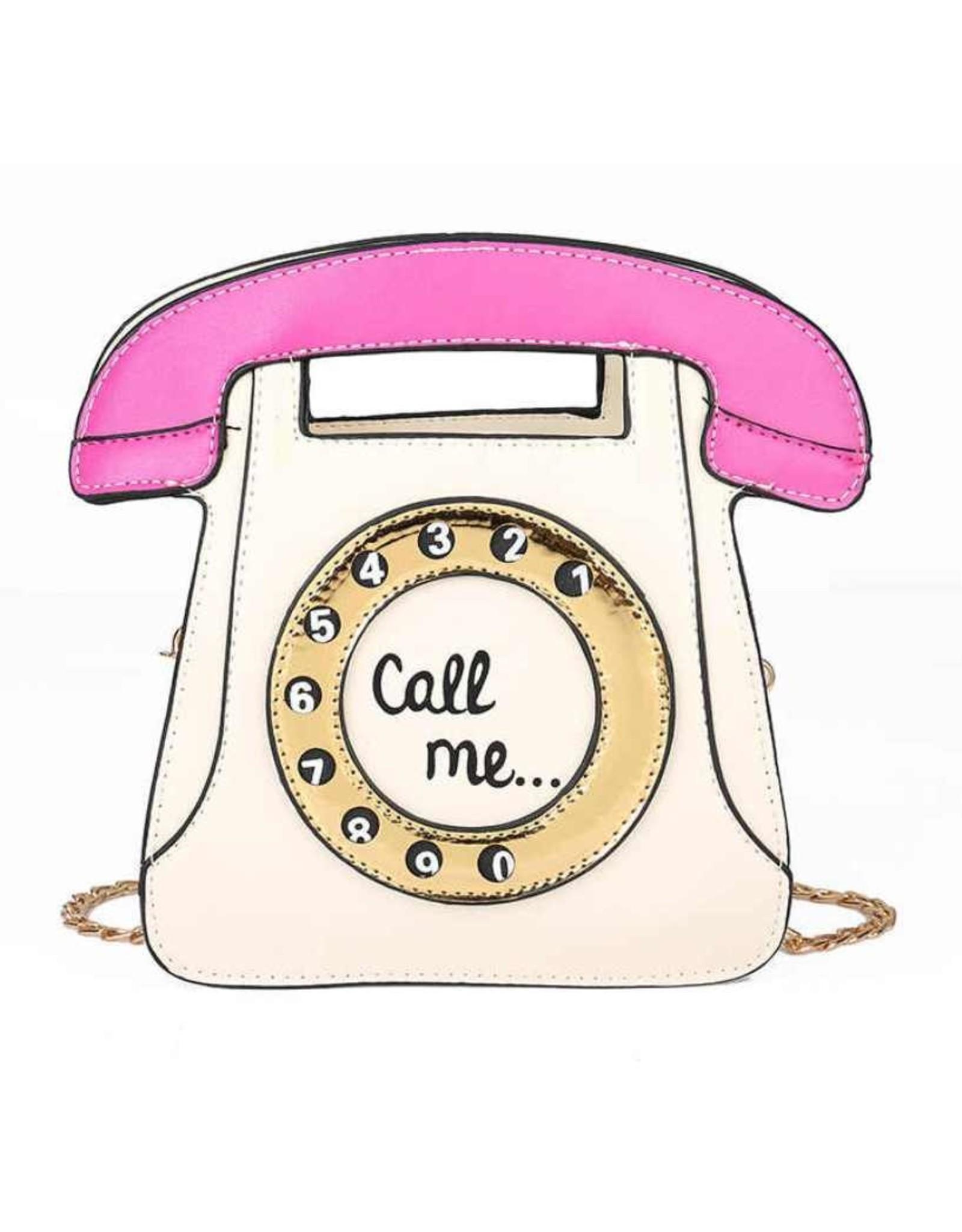 "Magic Bags Fantasy tassen en portemonnees - Fantasy handtas Retro Telefoon ""Call Me"" (wit-fuchsia)"
