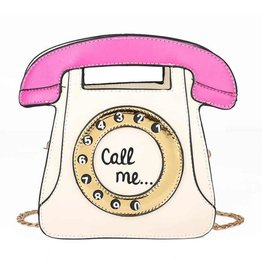 "Magic Bags Fantasy handtas Retro Telefoon ""Call Me"" (wit-fuchsia)"