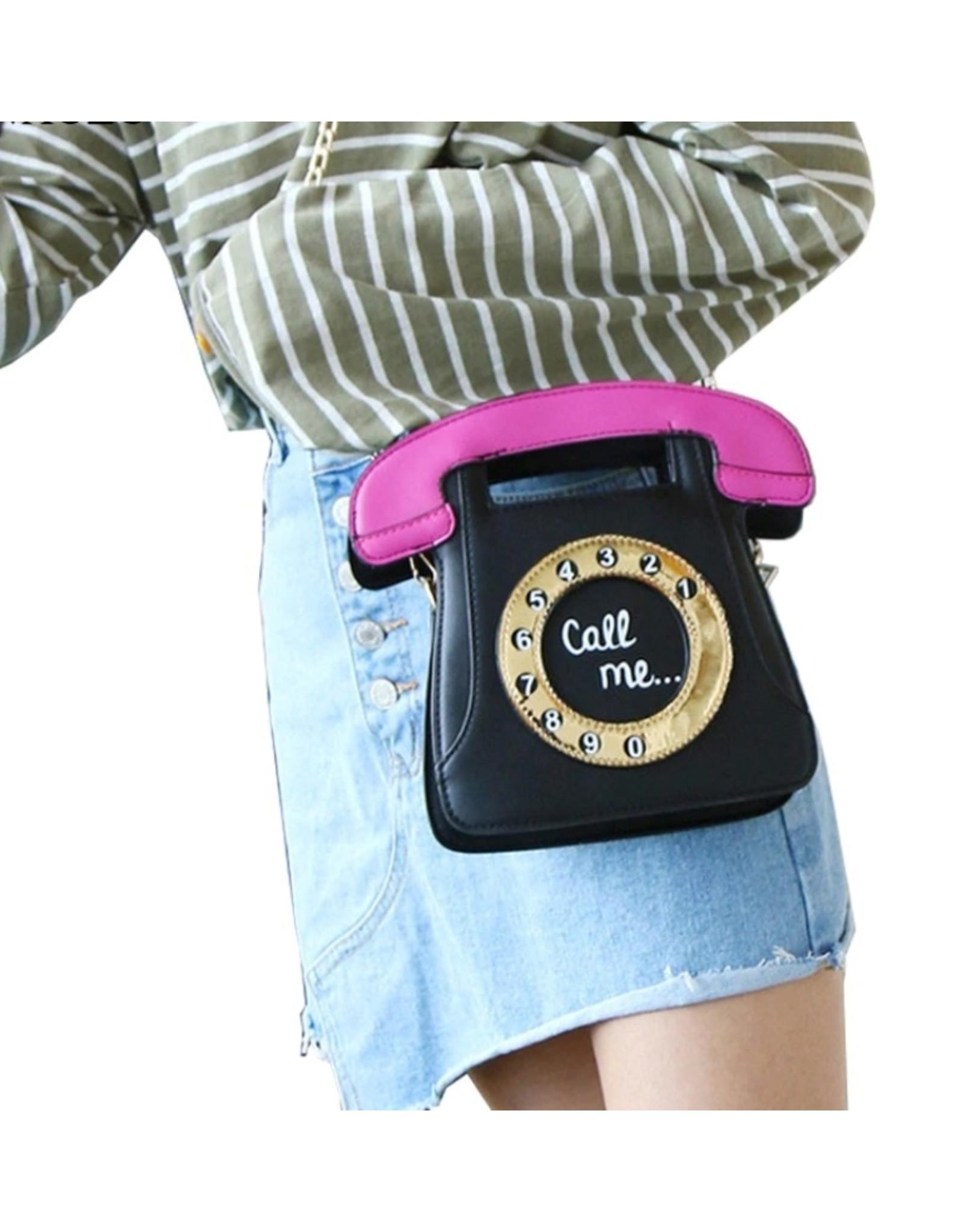 "Magic Bags Fantasy bags and wallets - Fantasy handbag Retro Telephone ""Call Me"" (white-fuchsia)"