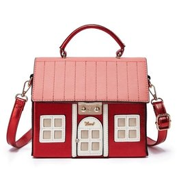 Magic Bags Fantasy handtas Huis (metallic rood)