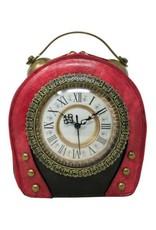 Magic Bags Steampunk tassen Gotic tassen - Steampunk Vintage Klok handtas met echt werkende Klok (rood-zwart)