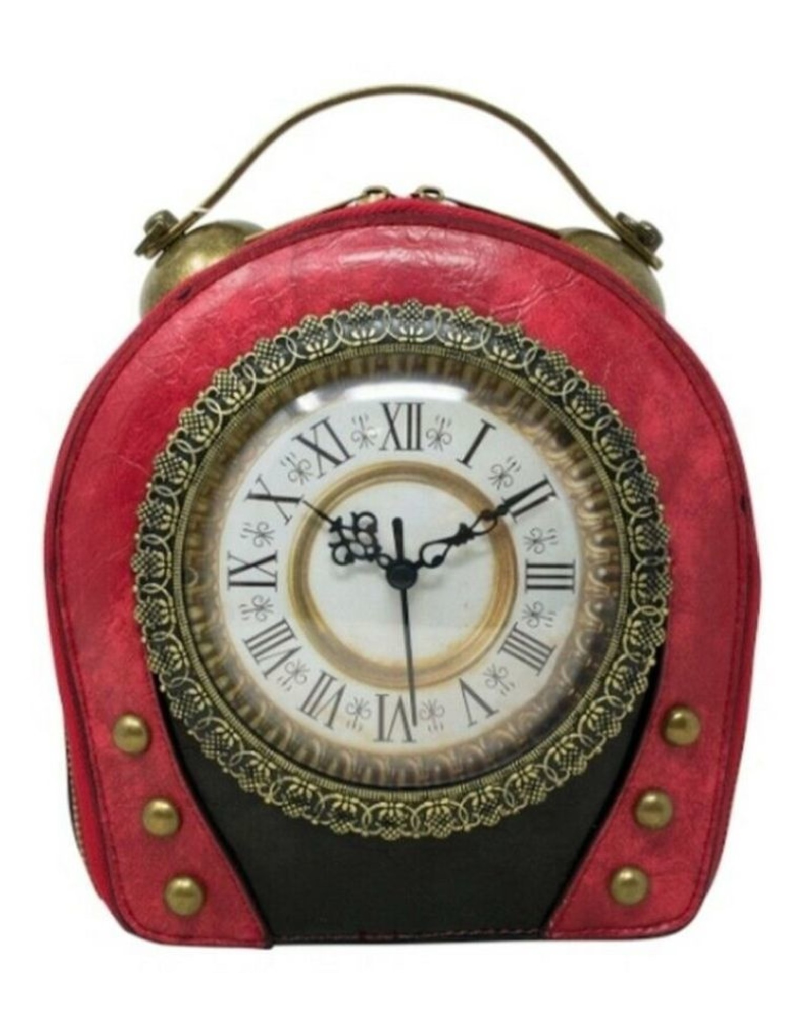 Magic Bags Steampunk bags Gothic bags - Steampunk Vintage Clock handbag with really working Clock (red-black)