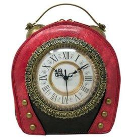 Magic Bags Steampunk Vintage Klok handtas met echt werkende Klok (rood-zwart)