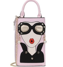 Magic Bags Fantasy clutch Ladies Face with earrings and sunglasses (pink)