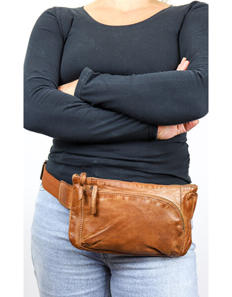 Bear Design Small leather bags, clutches and more - Bear Design waist bag from washed leather Bella (cognac)