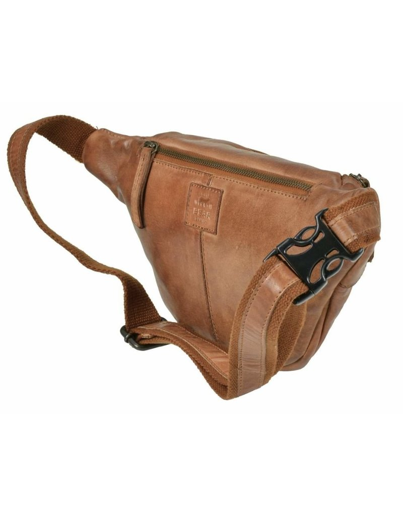 Bear Design Small leather bags, clutches and more - Bear Design waist bag from washed leather Matt (ocher yellow)