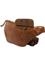 Bear Design Small leather bags, clutches and more - Bear Design waist bag from washed leather Matt (cognac)