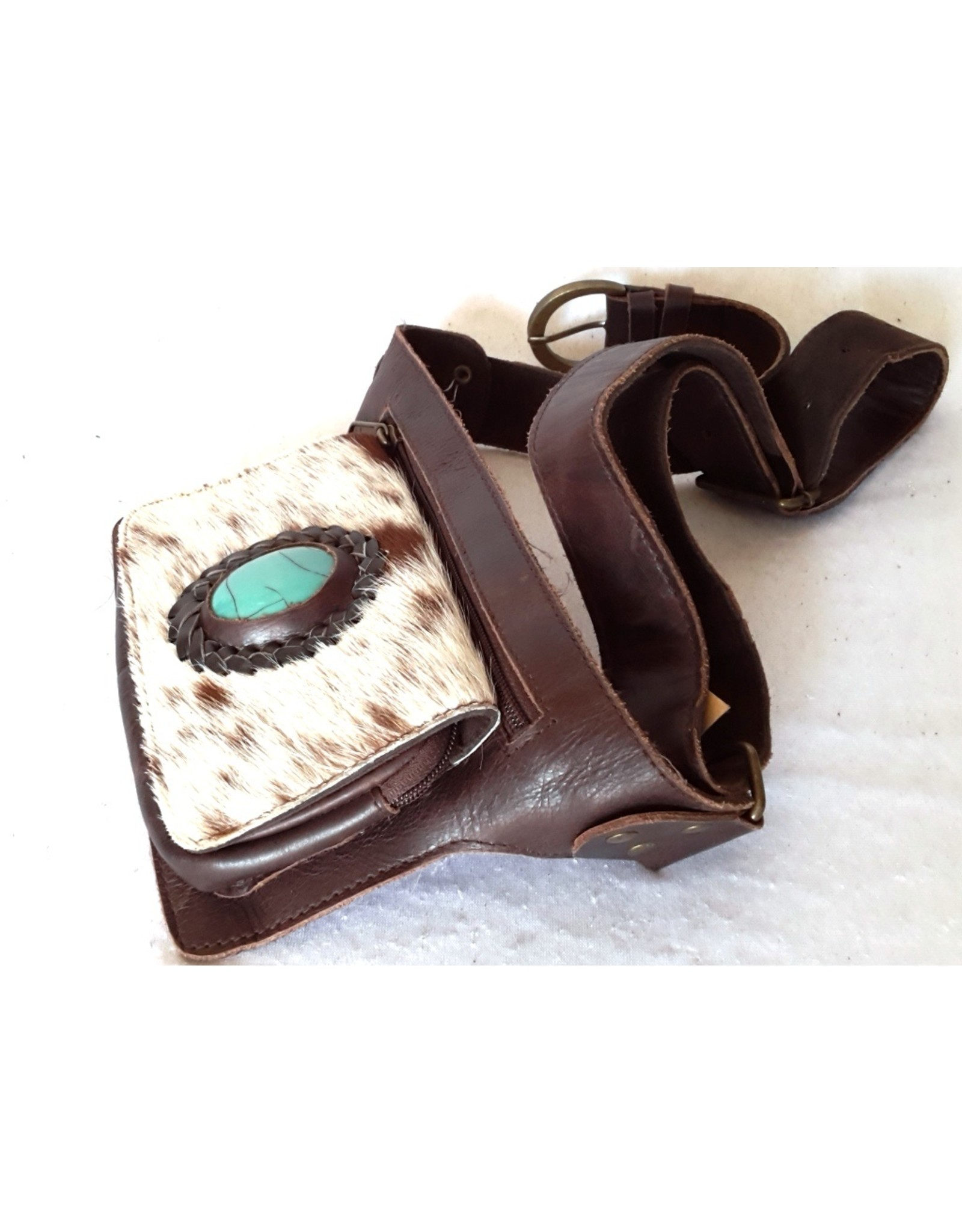 Trukado Small leather bags, cluches and more -   Leather waist bag with fur and large blue stone - Handmade, dark brown