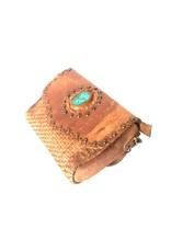 Trukado Leren tassen - Schoudertas met gevlochten voorkant  en steen - Gewassen leer, handgemaakt