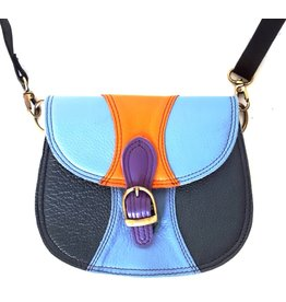 Leather shoulder bag with different colors