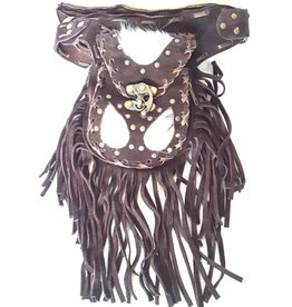Leather waist bag with cowhide and fringes - Ibiza style (d.brown)