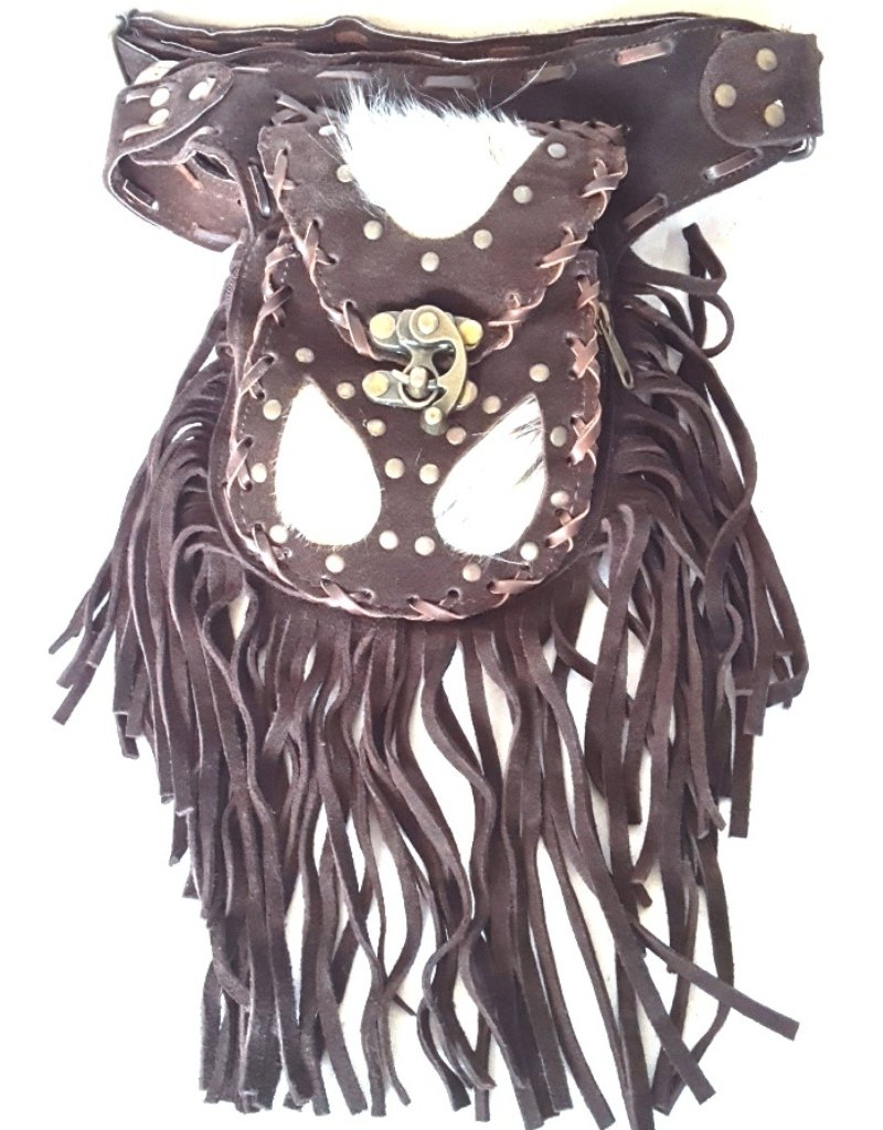 Small leather bags, clutches and more -  Leather waist bag with cowhide and fringes - Ibiza style (d.brown)