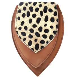 Leather bum bag  with leopard print on the cover (brown)