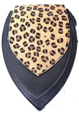 Trukado Small leather bags, clutches and more - Leather bum bag with leopard print cover (black)