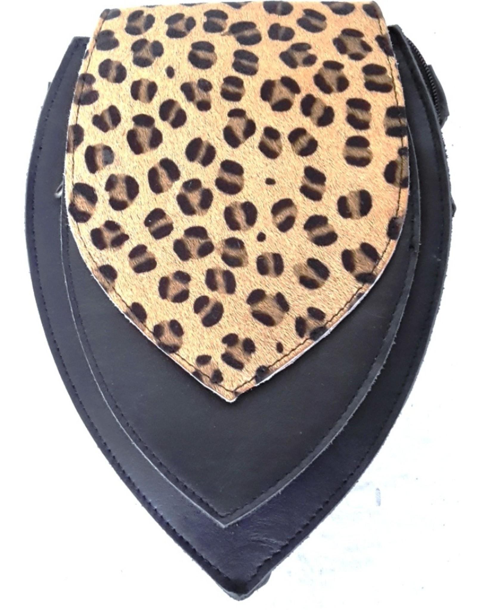 Leren Festivaltasjes, heuptassen en riemtassen - Leren heuptas met luipaard print omslag  (zwart)
