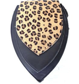 Leather bum bag with leopard print cover (black)