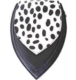 Leather bum bag with leopard print cover (black-white)
