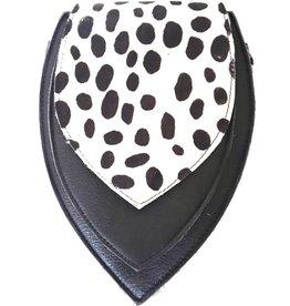 Leren heuptas met luipaard print omslag  (zwart-wit)