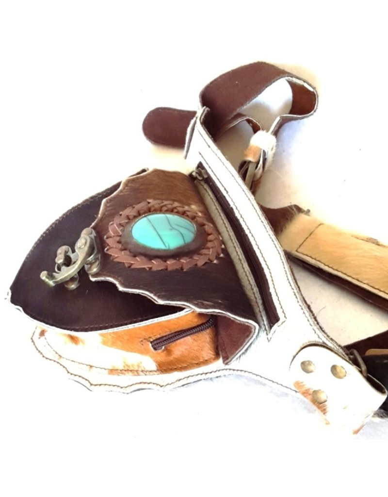 Small leather bags, cluches and more -   Leather waist bag with fur and big blue stone - Ibiza style triangle