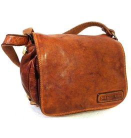 HillBurry HillBurry Leather Shoulder bag with  Cover. Washed Leather Cognac