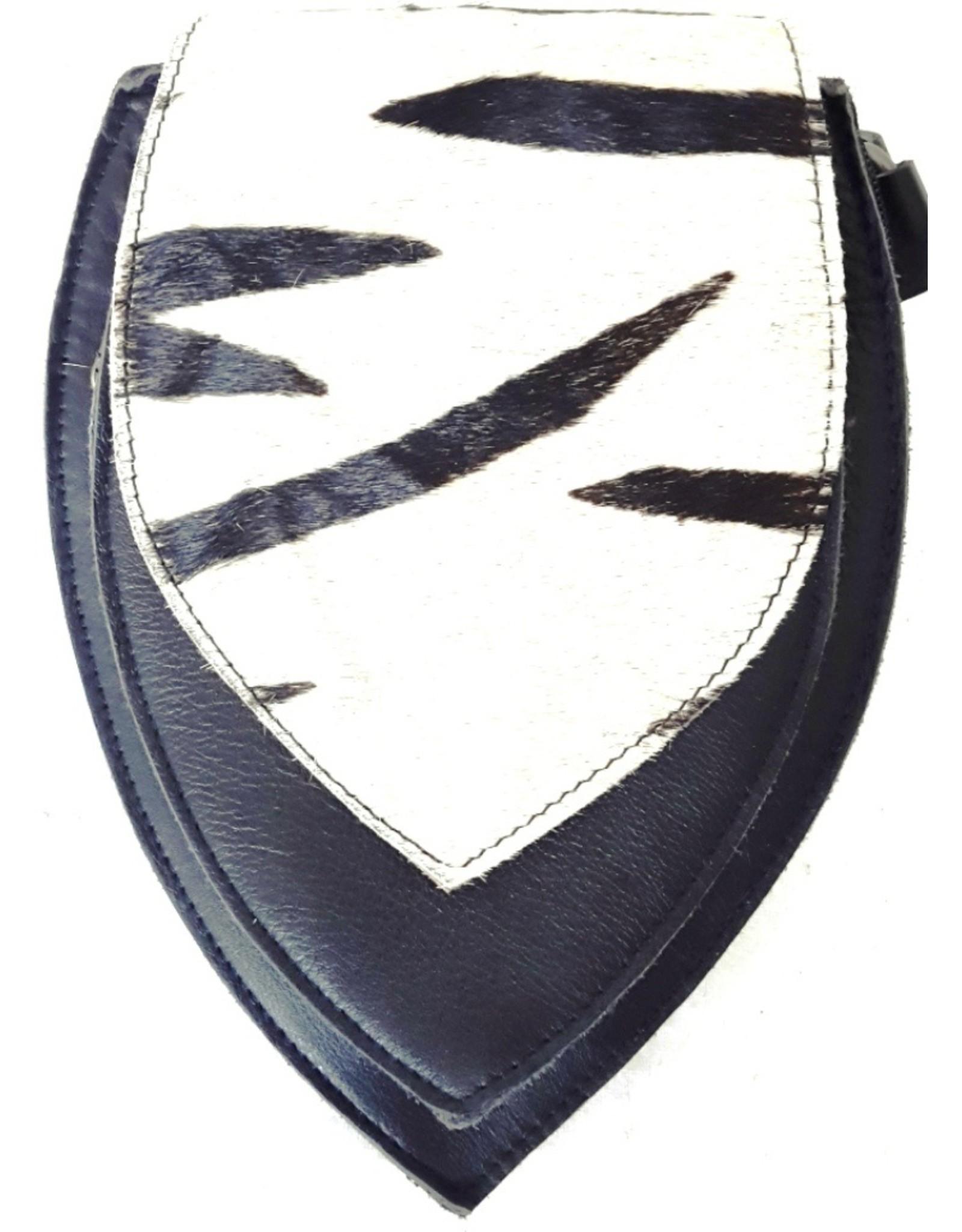 Leren Festivaltasjes, heuptassen en riemtassen - Leren heuptas met zebra print omslag (zwart)