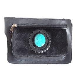 Leren heuptasje met vacht en blauwe steen  rechthoek (zwart)