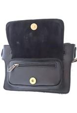 Leren Festivaltasjes, heuptassen en riemtassen - Leren heuptasje met vacht en blauwe steen  rechthoek (zwart)