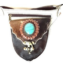 Leather waist bag with fur and big blue stone - Ibiza style triangle