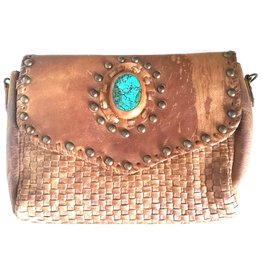 Trukado Shoulder bag with braided front and stone - Washed Leather, Handmade