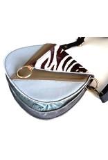 Leren Schoudertassen - Leren schoudertasje met  zebra print omslag