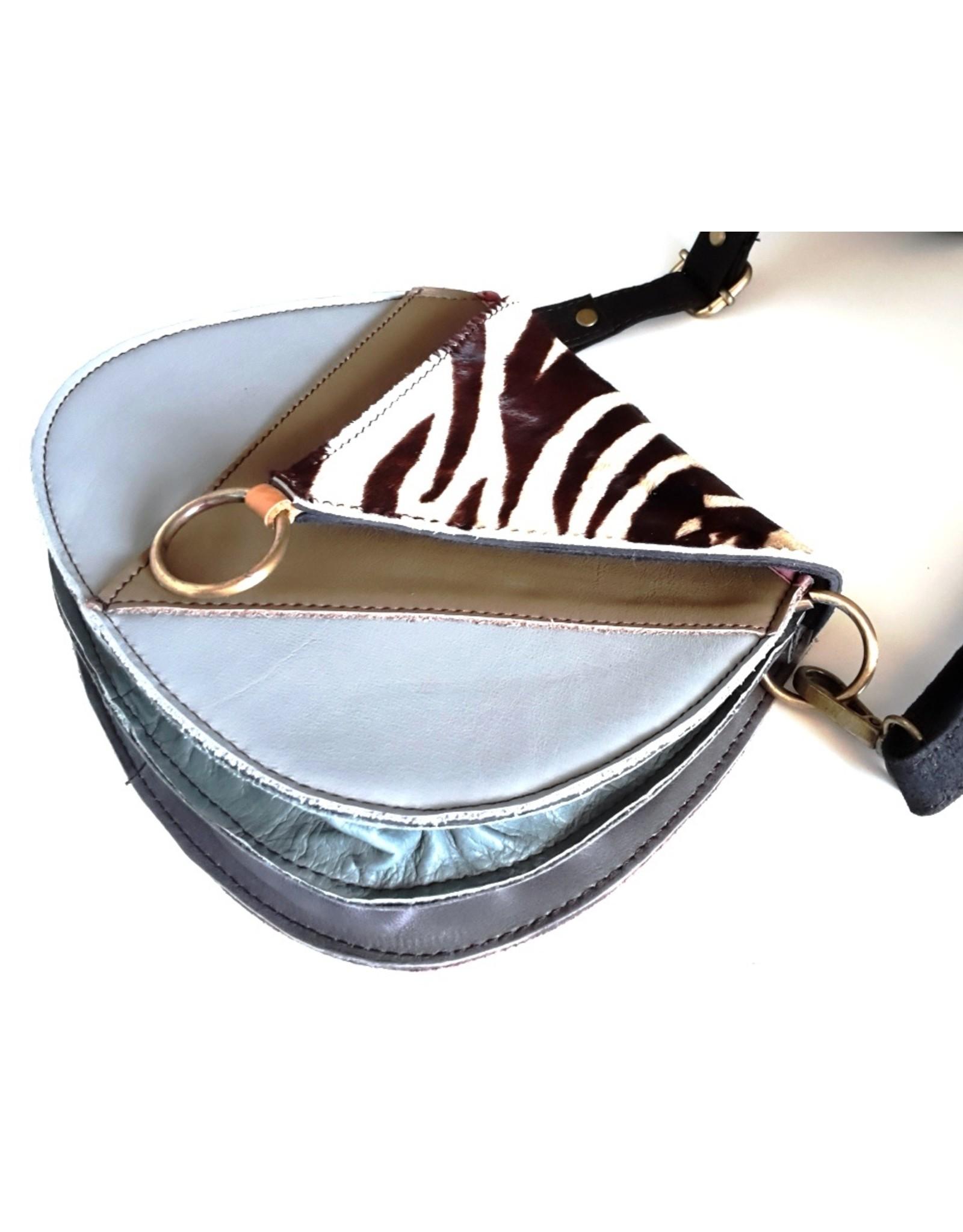 Trukado Leather Shoulder bags - Leather shoulder bag with zebra print cover