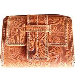 Roberto Leather wallet with Embossed Floral pattern Roberto