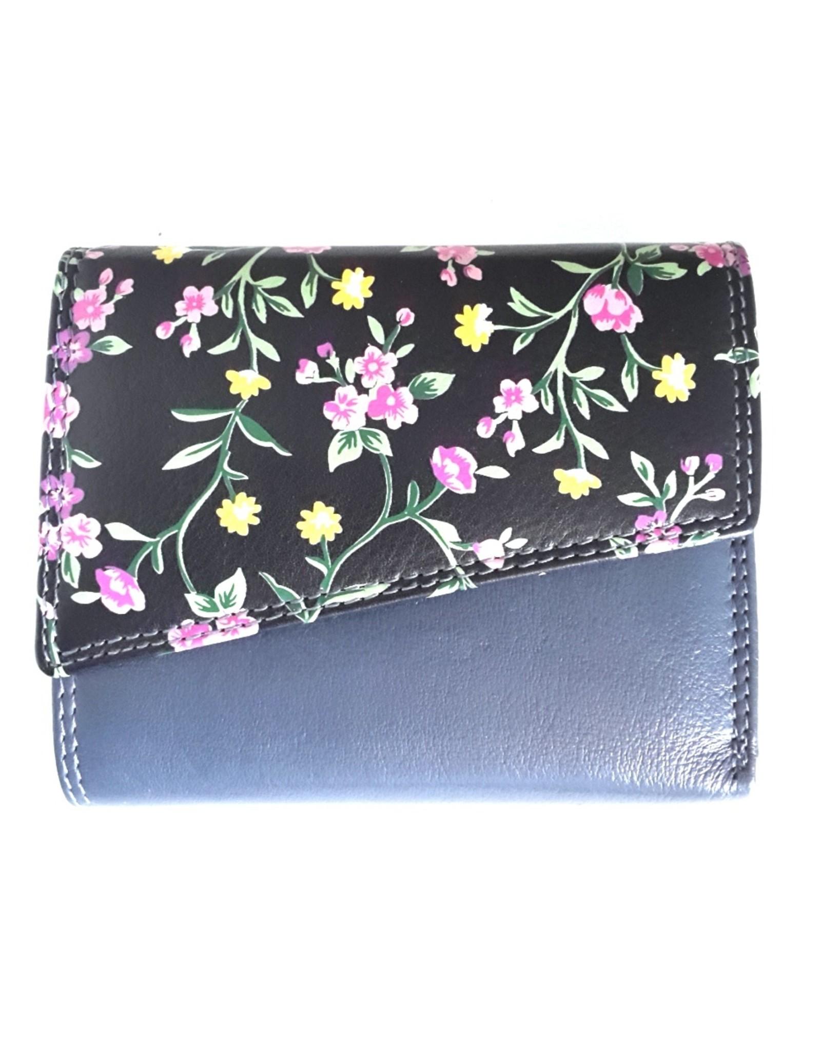 Louis Wallis Leren Portemonnees - Leren portemonnee met bloemenprint op de omslag ( donkerblauw-zwart)