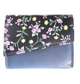 Louis Wallis Leren portemonnee met bloemenprint op de omslag ( d.blauw-zwart)