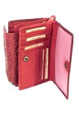 HillBurry Leren Portemonnees - Leren portemonnee HillBurry met ingedrukt Bloemenmotief  rood