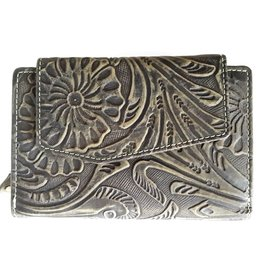 HillBurry HillBurry leather wallet with pressed floral pattern green