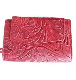 HillBurry HillBurry leather wallet with pressed floral pattern in red