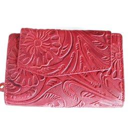 HillBurry Leren portemonnee HillBurry met ingedrukt Bloemenmotief  rood