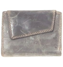 BestBull Leather wallet with slanted cover grey