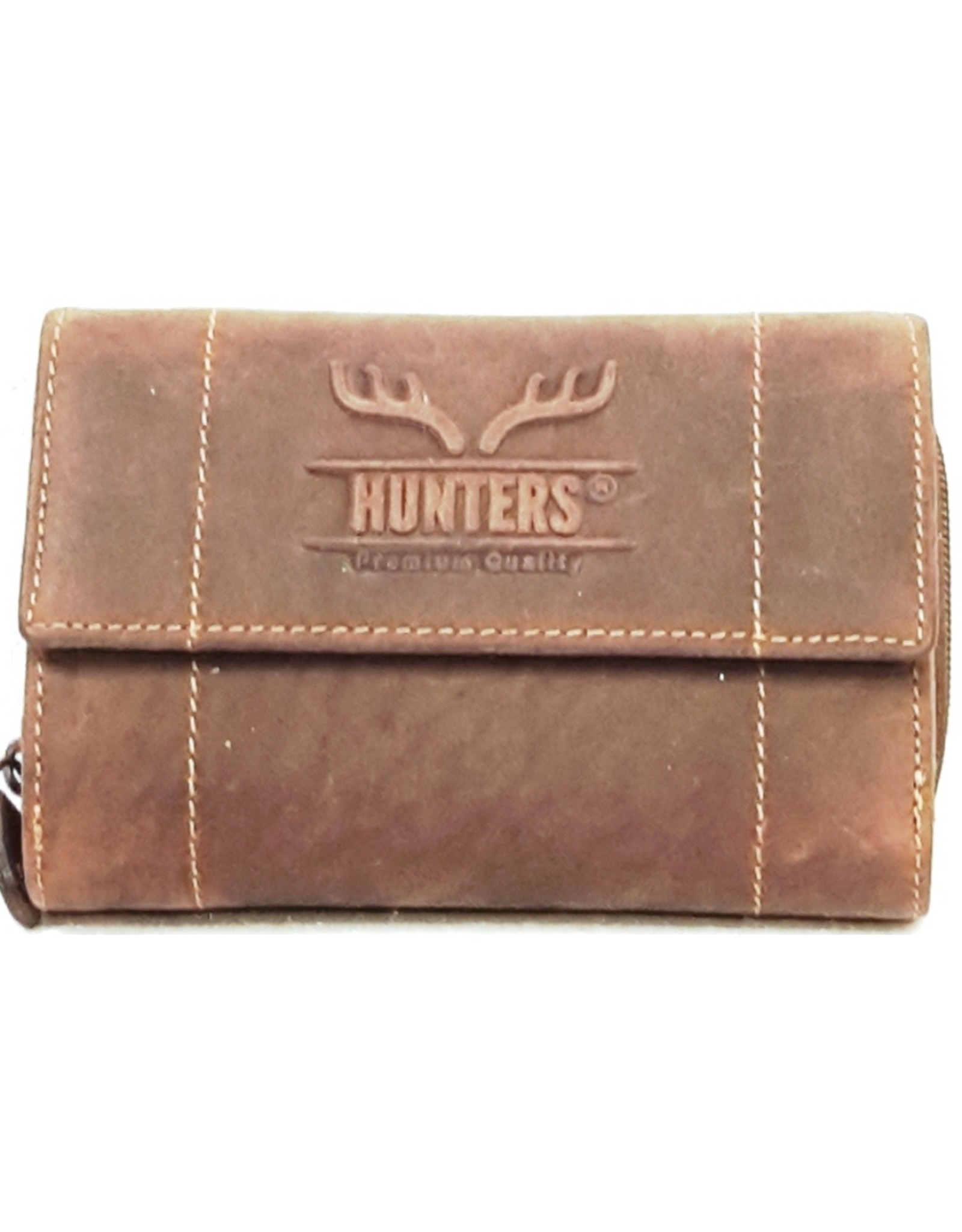 Hunters Leren Portemonnees - Leren portemonnee Hunters - Uniseks donkerbruin