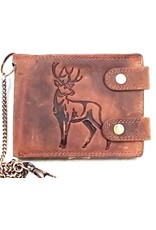 hunt Club Leather Wallets -  Leather wallet with embossed Deer print