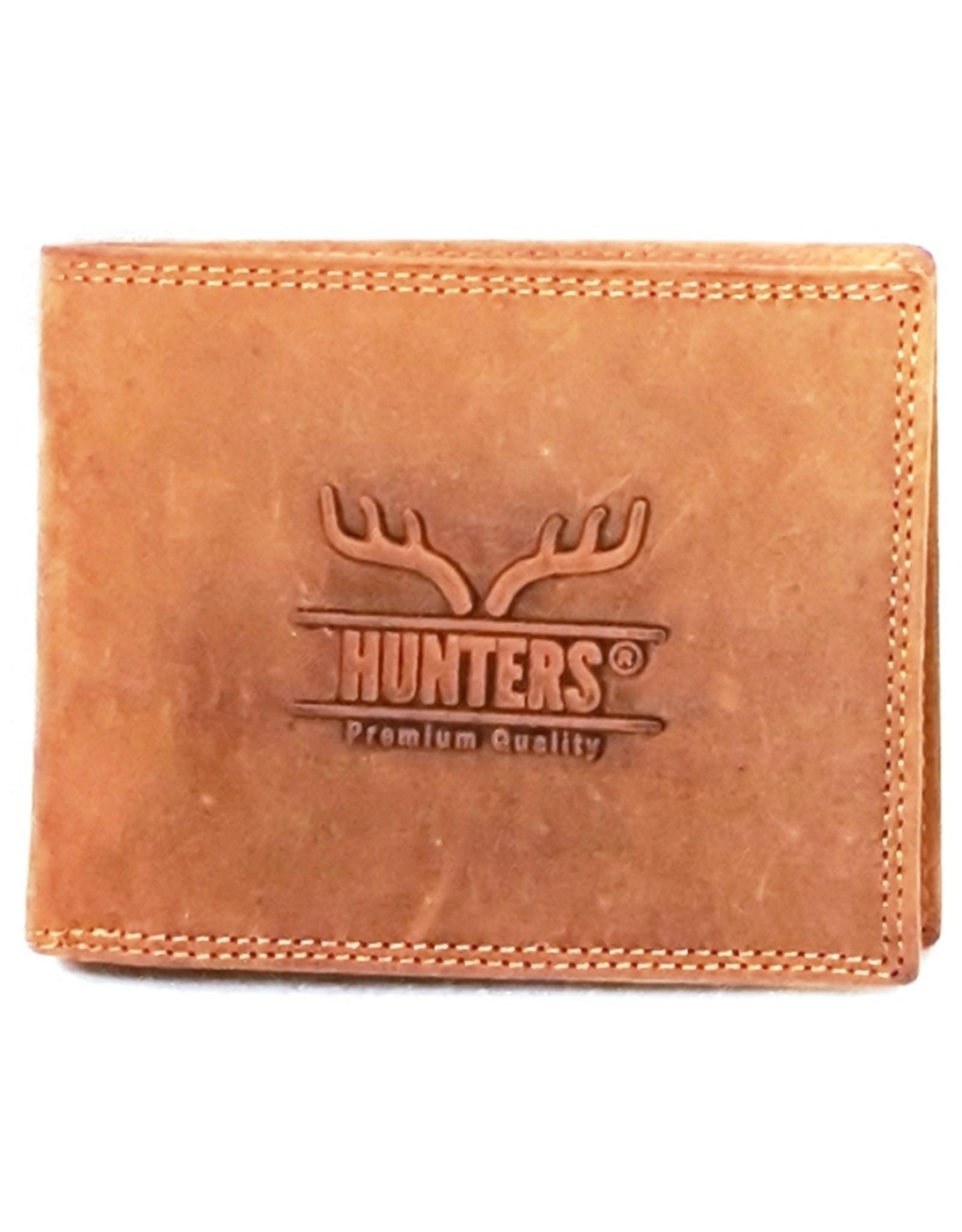 Hunters Leren Portemonnees - Leren portemonnee Hunters licht bruin
