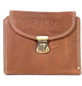 Wild Club Only Leather wallet with slide closure semi-circular cover