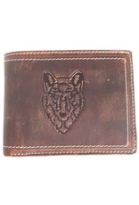 Hiunters Leather Wallets - Leather wallet with embossed Wolf head
