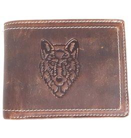 Hiunters Leren portemonnee met reliëf Wolvenkop