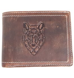 Stern Leren portemonnee met reliëf Wolvenkop