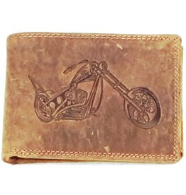 Wild Thing Leather wallet with embossed motor (horizontal)