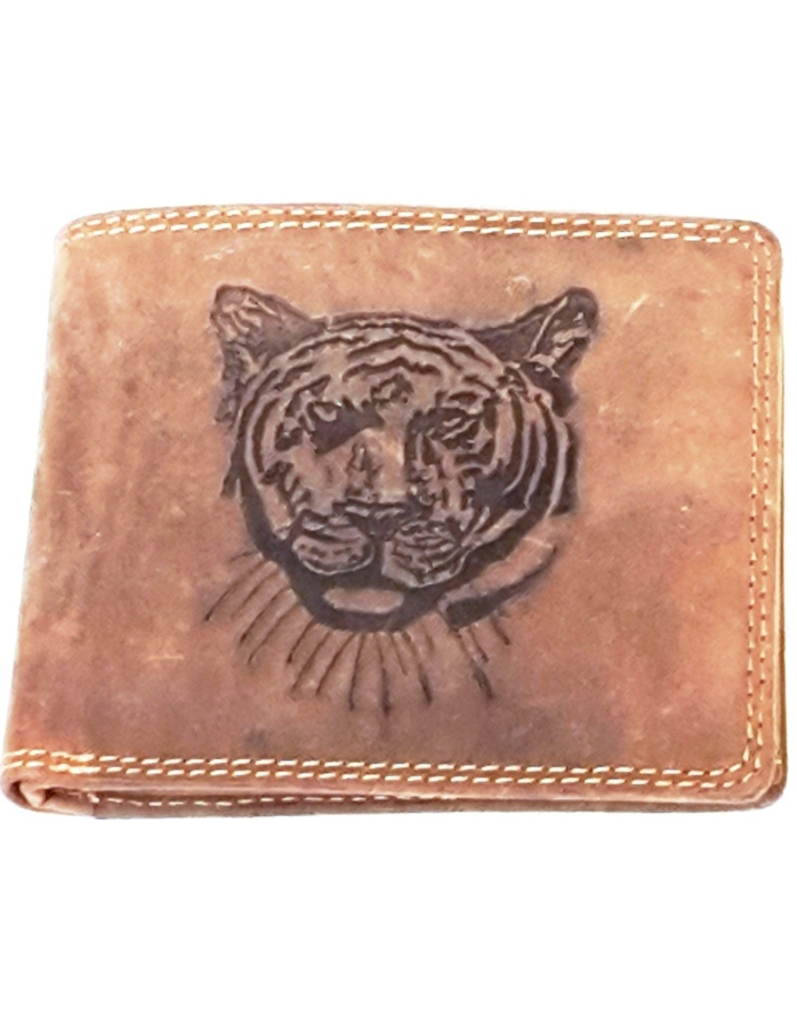 Hütmann Leather Wallets -  Leather wallet with embossed Tiger head horizontal